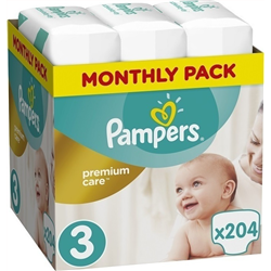 PAMPERS Premium Care Size 3 (5-9 Kg) Monthly Pack 204 τμχ