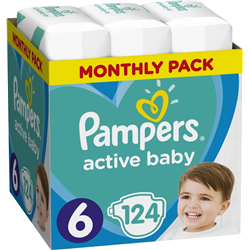 PAMPERS Active Baby Size 6 (13-18 Kg) Monthly Pack 124 τμχ